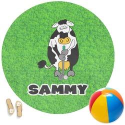 Cow Golfer Round Beach Towel (Personalized)