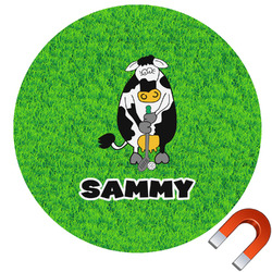 Cow Golfer Round Car Magnet (Personalized)