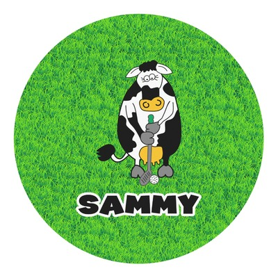 Cow Golfer Round Decal (Personalized)