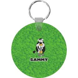 Cow Golfer Round Keychain (Personalized)