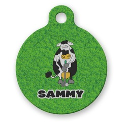 Cow Golfer Round Pet Tag (Personalized)