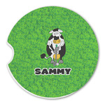 Cow Golfer Sandstone Car Coasters (Personalized)