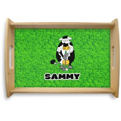 Cow Golfer Natural Wooden Tray (Personalized)