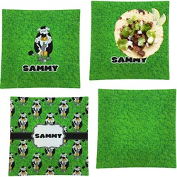"""Cow Golfer Set of 4 Glass Square Lunch / Dinner Plate 9.5"""" (Personalized)"""