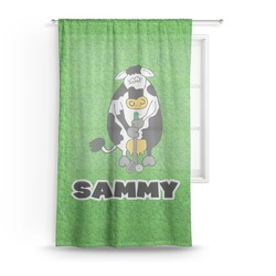 "Cow Golfer Sheer Curtain - 50""x84"" (Personalized)"