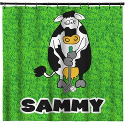 Cow Golfer Shower Curtain (Personalized)