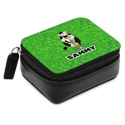 Cow Golfer Small Leatherette Travel Pill Case (Personalized)