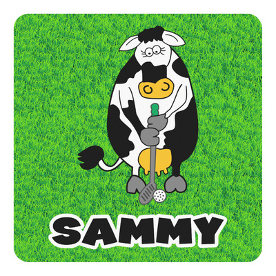 Cow Golfer Square Decal (Personalized)