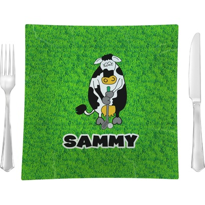 "Cow Golfer 9.5"" Glass Square Lunch / Dinner Plate- Single or Set of 4 (Personalized)"