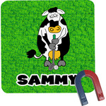 Cow Golfer Square Fridge Magnet (Personalized)