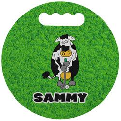 Cow Golfer Stadium Cushion (Round) (Personalized)