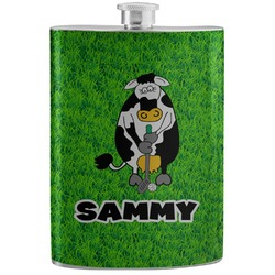 Cow Golfer Stainless Steel Flask (Personalized)