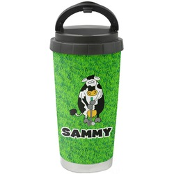 Cow Golfer Stainless Steel Travel Mug (Personalized)