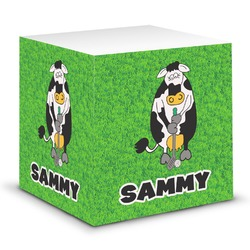 Cow Golfer Sticky Note Cube (Personalized)