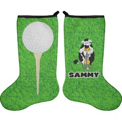 Cow Golfer Holiday Stocking - Double-Sided - Neoprene (Personalized)