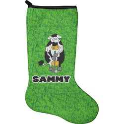 Cow Golfer Christmas Stocking - Neoprene (Personalized)