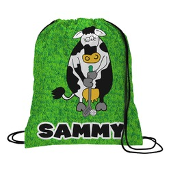 Cow Golfer Drawstring Backpack (Personalized)