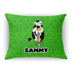 Cow Golfer Rectangular Throw Pillow Case (Personalized)