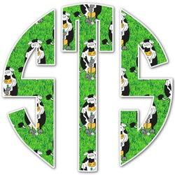 Cow Golfer Monogram Decal - Custom Sized (Personalized)