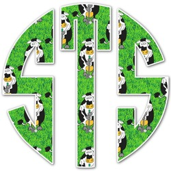 Cow Golfer Monogram Decal - Custom Sizes (Personalized)