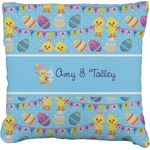 Happy Easter Faux-Linen Throw Pillow (Personalized)