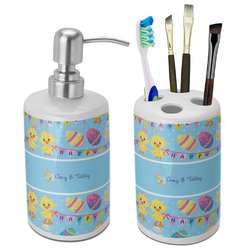 Happy Easter Ceramic Bathroom Accessories Set (Personalized)