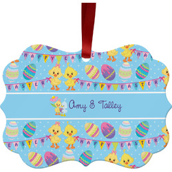 Happy Easter Metal Frame Ornament - Double Sided w/ Multiple Names