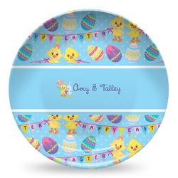 Happy Easter Microwave Safe Plastic Plate - Composite Polymer (Personalized)