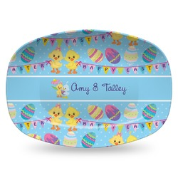 Happy Easter Plastic Platter - Microwave & Oven Safe Composite Polymer (Personalized)