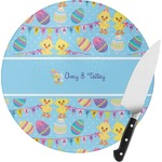 Happy Easter Round Glass Cutting Board (Personalized)