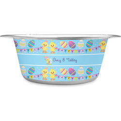Happy Easter Stainless Steel Pet Bowl - Medium (Personalized)
