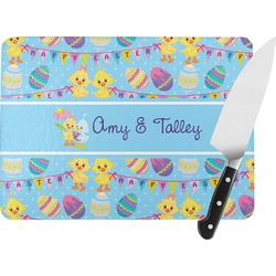Happy Easter Rectangular Glass Cutting Board (Personalized)