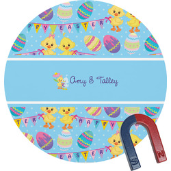 Happy Easter Round Fridge Magnet (Personalized)