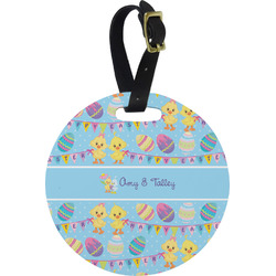 Happy Easter Round Luggage Tag (Personalized)
