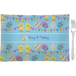Happy Easter Rectangular Glass Appetizer / Dessert Plate - Single or Set (Personalized)