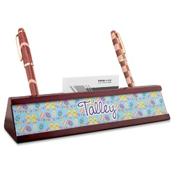 Happy Easter Red Mahogany Nameplate with Business Card Holder (Personalized)