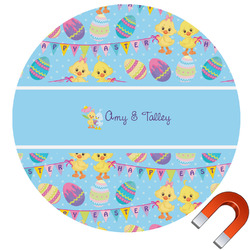 Happy Easter Round Car Magnet (Personalized)