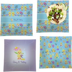 """Happy Easter Set of 4 Glass Square Lunch / Dinner Plate 9.5"""" (Personalized)"""