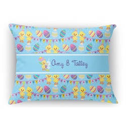 Happy Easter Rectangular Throw Pillow Case (Personalized)