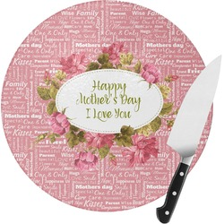 Mother's Day Round Glass Cutting Board - Small