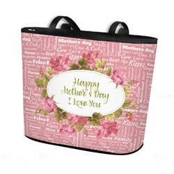 Mother's Day Bucket Tote w/ Genuine Leather Trim