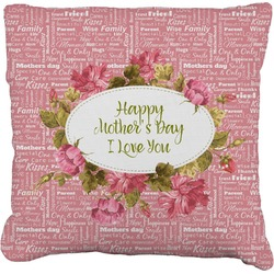 """Mother's Day Faux-Linen Throw Pillow 16"""""""