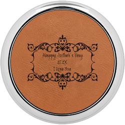Mother's Day Leatherette Round Coaster w/ Silver Edge - Single or Set