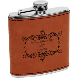 Mother's Day Leatherette Wrapped Stainless Steel Flask