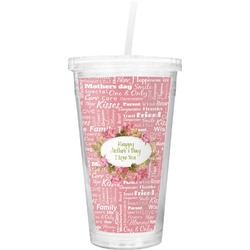 Mother's Day Double Wall Tumbler with Straw