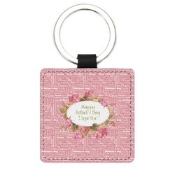 Mother's Day Genuine Leather Rectangular Keychain