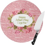 Mother's Day Round Glass Cutting Board