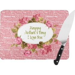 Mother's Day Rectangular Glass Cutting Board