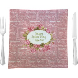 """Mother's Day 9.5"""" Glass Square Lunch / Dinner Plate- Single or Set of 4"""