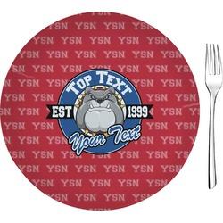 "School Mascot Glass Appetizer / Dessert Plates 8"" - Single or Set (Personalized)"
